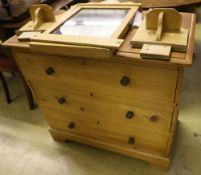 A late Victorian pine three drawer dressing chest, width 85cm depth 46cm height 79cm