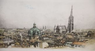Luigi Kasimir (1881-1962), coloured etching, View of Viennese roof tops, signed in pencil, overall