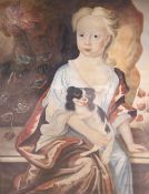 18th century English School, watercolour on paper, Portrait of a young woman seated with a