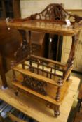 A Victorian burr walnut music Canterbury-cum-whatnot, fitted drawer to base, width 60cm depth 40cm