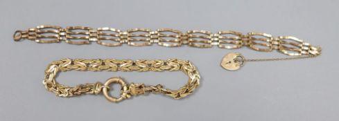 An Italian 14k fancy link bracelet(a.f.) 16.5cm and a 9ct gold gatelink bracelet with padlock clasp,