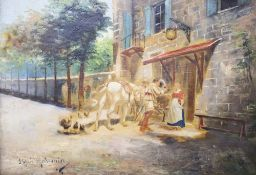 After Meissonier, oil on canvas, Figures outside an inn, 23 x 32cmCONDITION: Has the look of an