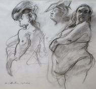 Minerva Durham, charcoal on paper, Nude studies 'Aviva', signed and dated 2006, 42 x 45cm