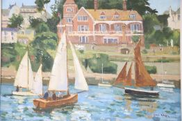 Eric Ward (1945-), oil on canvas, 'Salcombe Yacht Club', signed, 29 x 39cmCONDITION: Good original
