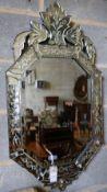 A Venetian glass wall mirror, width 50cm height 94cm