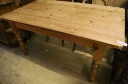 A Victorian style pitch pine kitchen table, 151cm width 93cm height 76cm