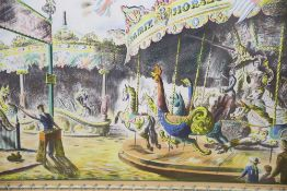 Barbara Jones, colour lithograph, 'Fairground', Baynard Press for School Prints Ltd, overall 49 x
