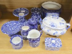 A group of Burleigh ware callico jugs and jars, soup tureen, ladle, butter dish and jardiniere