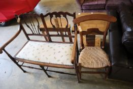 An Edwardian chair-back settee, width 103cm, together with a 19th century French prie-dieu chair