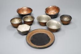 A group of Chinese lacquer and bamboo bowls, 18th/19th century