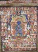 A Tibetan painted silk thangka with a blue Buddha surrounded by figures, central panel 54 x 43cm,