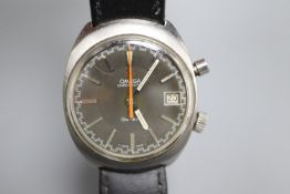 A gentleman's 1970's? stainless steel Omega Chronostop manual wind wrist watch, on a later leather