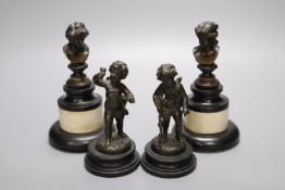 A pair of Regency small bronze busts and a pair of figures of cherubs, tallest 16cm