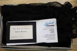 Queen Victoria interest: A black silk sleeve. Provenance, Vendor's relation was in service to