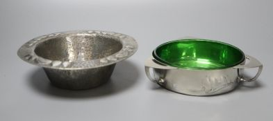 A Liberty's Tudric pewter bowl and a butter dish, hammered design, shape no. 0187, 15.5cm