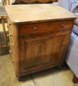 A Victorian rosewood Davenport type writing chest, width 73cm, depth 54cm, height 86cm
