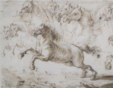 Old Master, pen and ink, Study of a horse, Christie's Mill House 1994 label verso lot 1251, 14 x