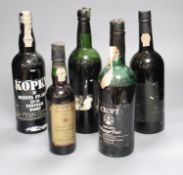 Five assorted bottles of port, including Kopke, 1978, Croft Quinta Da Roeda, 1978, a half bottle