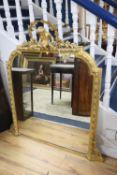 A Victorian gilt gesso overmantel mirror, width 110cm, height 125cm