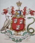 An illuminated armorial with the motto Virtutis Gloria Merces, 25 x 20cm