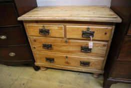 A small late Victorian pine chest, width 90cm, depth 47cm, height 80cm