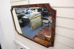 A rectangular wall mirror in red-lacquered chinoiserie frame, width 82cm, height 57cm