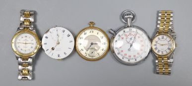 A small collection of pocket and wrist watches.