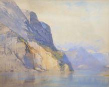 Cecil Arthur Hunt (1873-1965), watercolour, Norwegian fjord scene, signed, 30 x 38cm