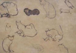 Modern British, ink on brown paper, Studies of cats, 19 x 28cm