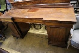 A Victorian mahogany inverted breakfront sideboard, width 213cm, depth 70cm, height including back