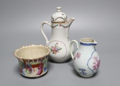 A Chinese export famille rose sparrowbeak jug, a ewer and cover and a mandarin pattern pot,