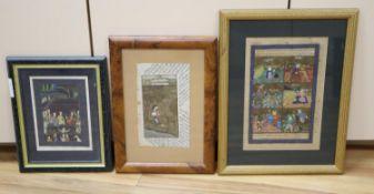 Three Indian miniatures paintings