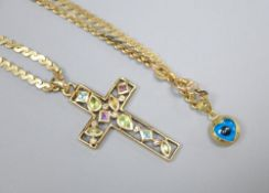 A modern 9ct gold multi-gem-set cross (4cm) on 9ct gold chain (53cm) also hung with a 585 mounted