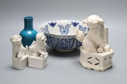 An early 19th century Chinese blue and white bowl, diameter 24cm, with Kangxi and other Chinese
