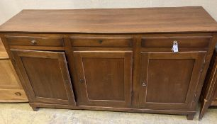 A French cherrywood buffet, width 192cm, depth 54cm, height 110cmCONDITION: Some light scuffing to