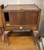 A George III style herringbone walnut bedside cupboard, width 54cm, depth 42cm, height 64cm