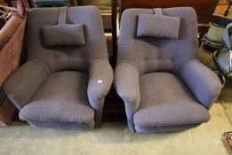 "A pair of Ernest Race ""Dormouse"" chairs, original mauve fabric upholstery"