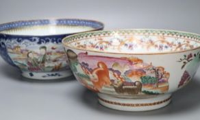 Two Chinese Export polychrome-decorated punch bowls, diameter 28.5cm (repairs)