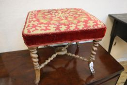 A Victorian walnut square topped tapestry upholstered stool, length 44cm, depth 42cm, height 38cm