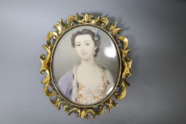 An early Victorian gold framed miniature portrait of a lady, 4.5 x 3.5cm.