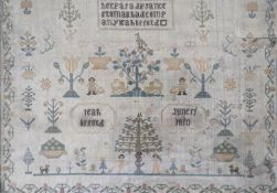 An early 19th century needlework sampler by Leah Lifford, 1810CONDITION: Series of moth holes, the