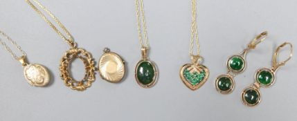 A 9ct gold and emerald heart pendant on chain, a 750 chain with scrolled pendant (vacant) and sundry