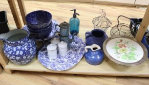 A collection of kitchenwares including a large ironstone jug, 26cm, spongeware bowls, platter,