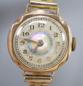 A lady's 9ct gold cased wristwatch, with gilt metal expanding strap, case diameter 24mm ex. crown,