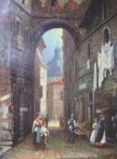 Schroter, 19th century street scene, indistinctly signed, oil on panel, 40 x 30cm