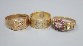 A 9ct gold and diamond gypsy-set ring, a 9ct gold, ruby and diamond cluster ring and a two-colour