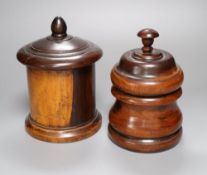 A 19th century lignum vitae string box, 18cm, and a similar tobacco? jar and cover