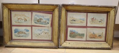 Victorian School, eight watercolours on card, Sporting scenes and studies of bid cats, wolves and