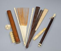 A Chinese bamboo fan, ivory items etc