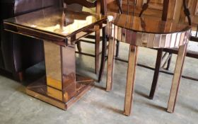 A peach mirror glass square top table and a demi lune table, larger width 50cm, depth 50cm, height